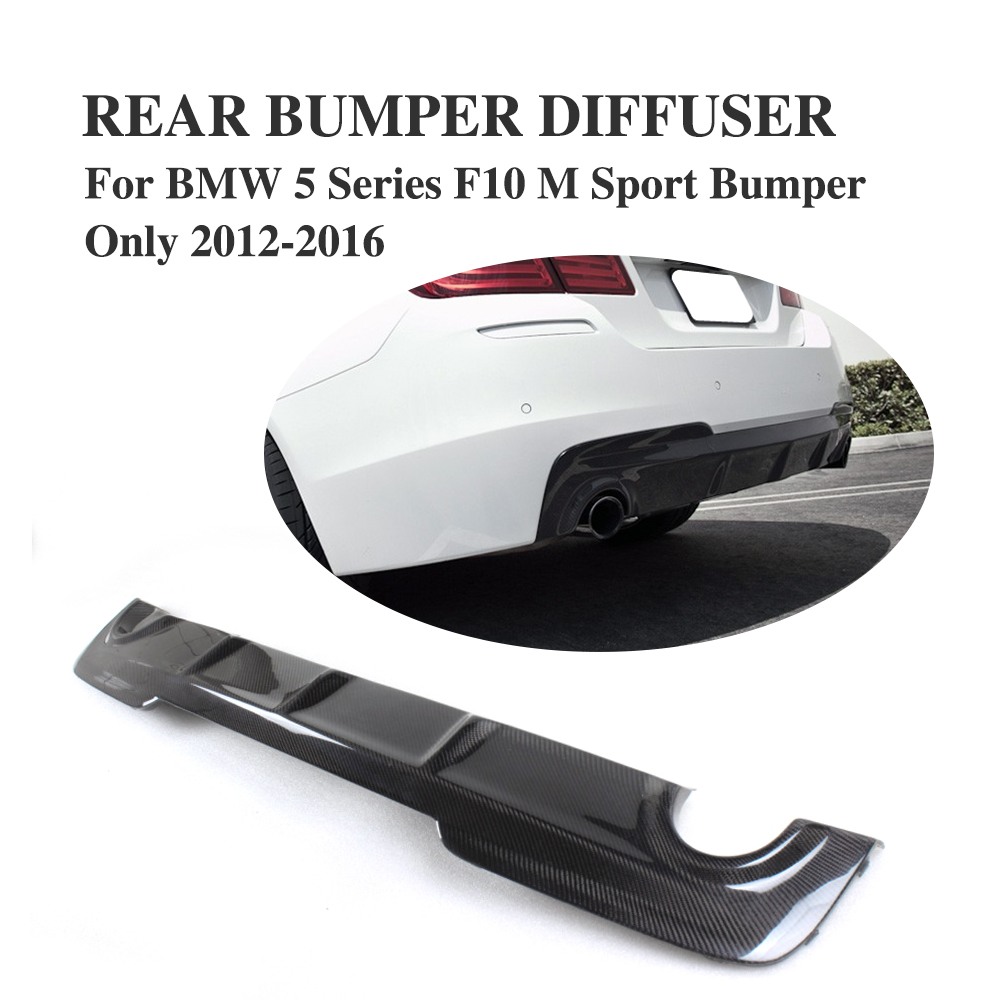 A Style Carbon Fiber Rear underbody diffuser For BMW F10 M Sport Sedan 2012 2016 528i 530i 535i 550i dual exhaust one outlet