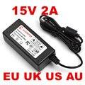 1PCS 15V2A AC 100V-240V Converter Adapter DC 15V 2A 2000mA Power Supply 5.5mm x 2.1mm for LED CCTV