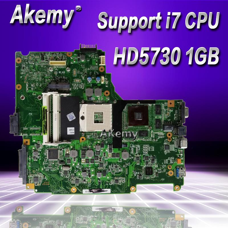 Akemy N61JQ Laptop Motherboard For ASUS N61J N61JA N61JQ Mainboard REV2.1 60-NY9MB1200-C03 Full Tested Support I7 CPU HD5730 1GB