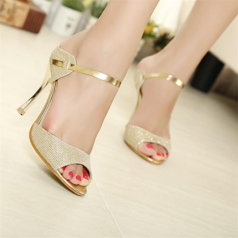 88e4c743f5d Summer Women Sandals Fashion Gold Silver High Heels Sandals Beautiful Women  Shoes Open Toes image