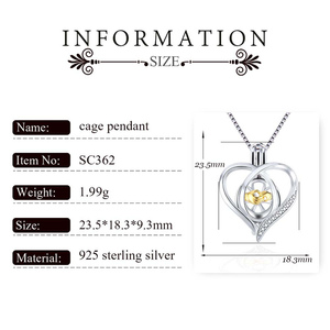 Image 2 - CLUCI 3pcs Silver 925 Pendant Locket for Women Necklace Jewelry 925 Sterling Silver Heart Zircon Pearl Cage Pendant SC362SB
