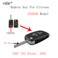 RIN 2Buttons CE0536 Remote Alarm Flip Key Fob 433MHz For Citroen C2 C3 C4 PICASSO With