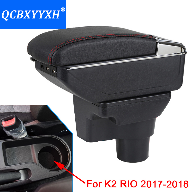 Car-Styling ABS With PU Car Armrest For Kia K2 2017-2018 Central Store Content Storage Box With Cup Holder Ashtray Accessories for kia forte 2009 2017 abs with pu armrest box central store content box cup holder interior car styling products accessory
