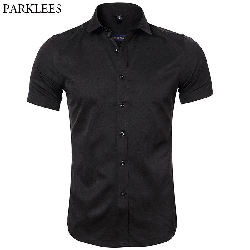 Men's Bamboo Fiber Dress Shirts Slim Fit Short Sleeve Casual Button Down Shirts 2018 Summer New Elastic Formal Work Brand Shirt Mens Plus Size