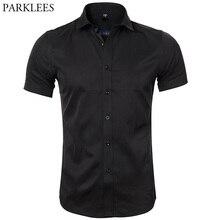 Men's Bamboo Fiber Dress Shirts Slim Fit Short Sleeve Casual Button Down
