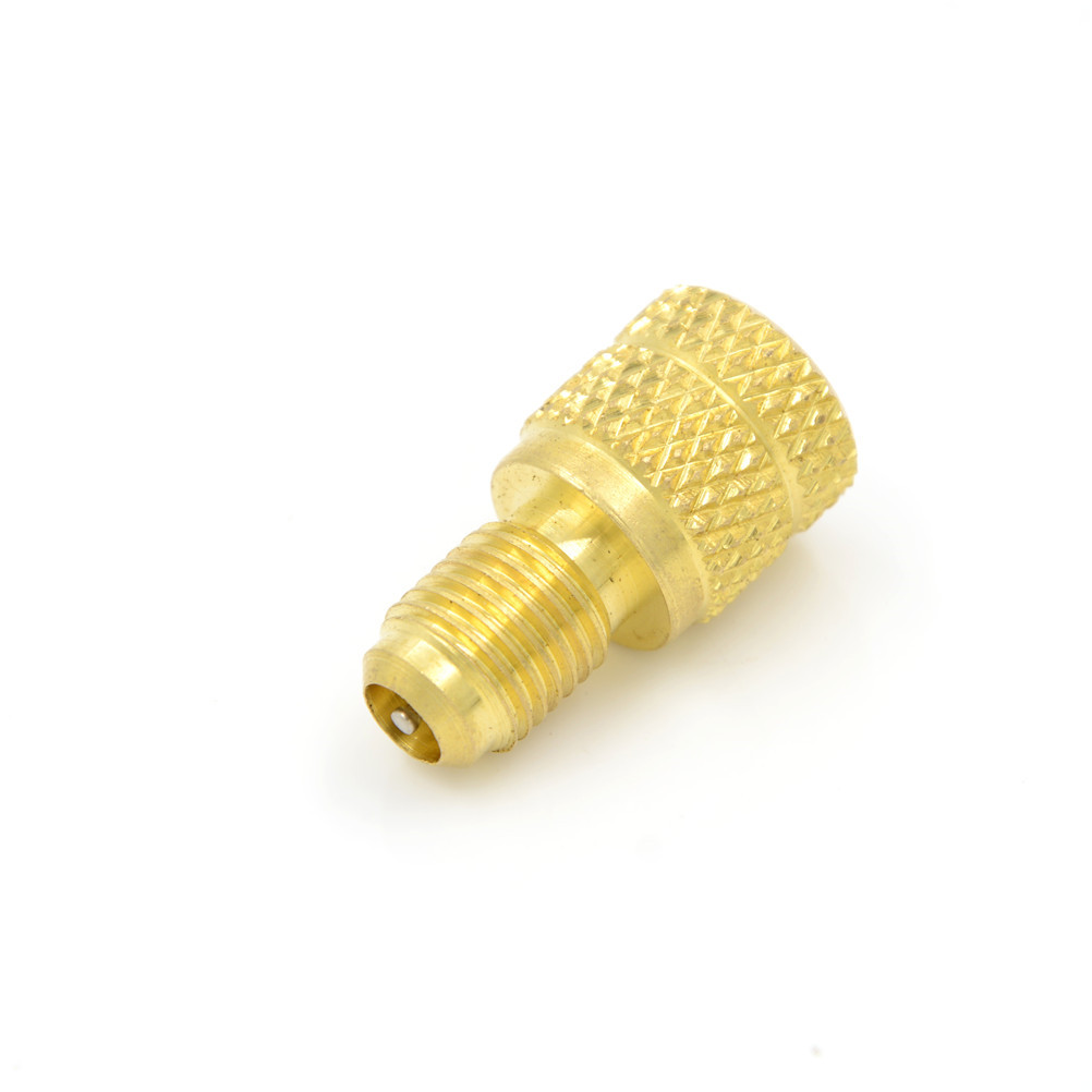 "ACME A//C R134a Brass Fitting Adapter 1//4/"" Male To 1//2/"" Female W// Valve Core Kit"