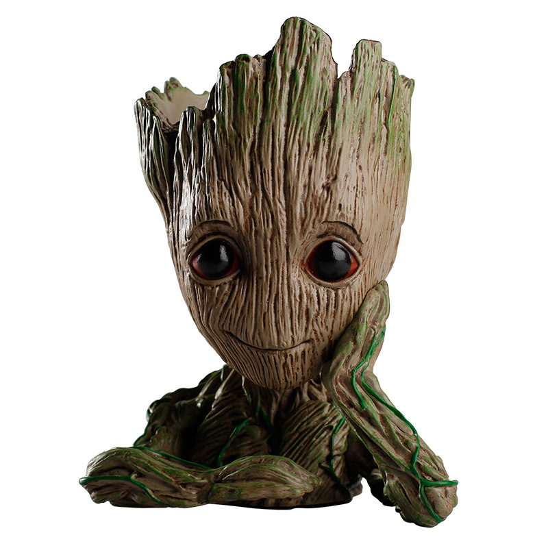 QBW Guardians of The Galaxy Flowerpot Baby Action Figures Cute Model Toy Pen Pot Best Christmas Gifts For Kids Home Decoration