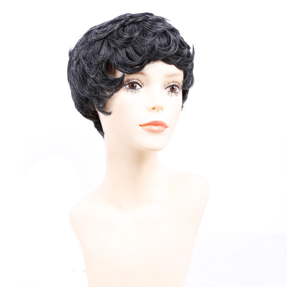 Amir Korta Paryk För Svarta Kvinnor Svart Kort Syntetisk Paryk - Syntetiskt hår - Foto 5