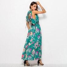 Women V neck Dress 2018 Floral Print Bohemian Beach Dress girls Chiffon Sun protection summer Dress Sundress Large long style цена 2017