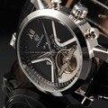 Классические Автоматические часы  мужские часы с календарем  черные  с кожаным ремешком  спортивные  аналоговые  мужские  механические