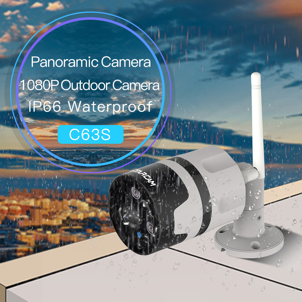 Wireless Home Surveillance Panoramic Camera C63S 2 0 MegaPixel FHD Security Night Vision Motion Detect Outdoor