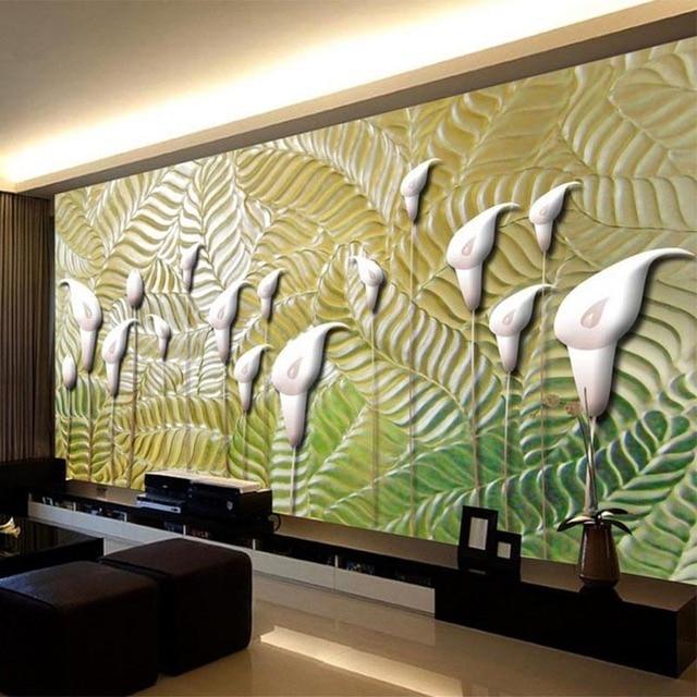 Modern Abstract Art Wallpaper 3D Embossed Flowers Photo