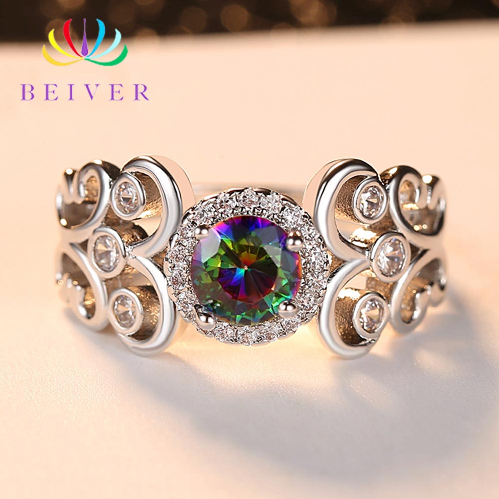 Beiver 2019 New Arrival White Gold Rainbow Round Zircon Promise Wedding Flower Rings for Women Party Jewelry Ladies Gifts