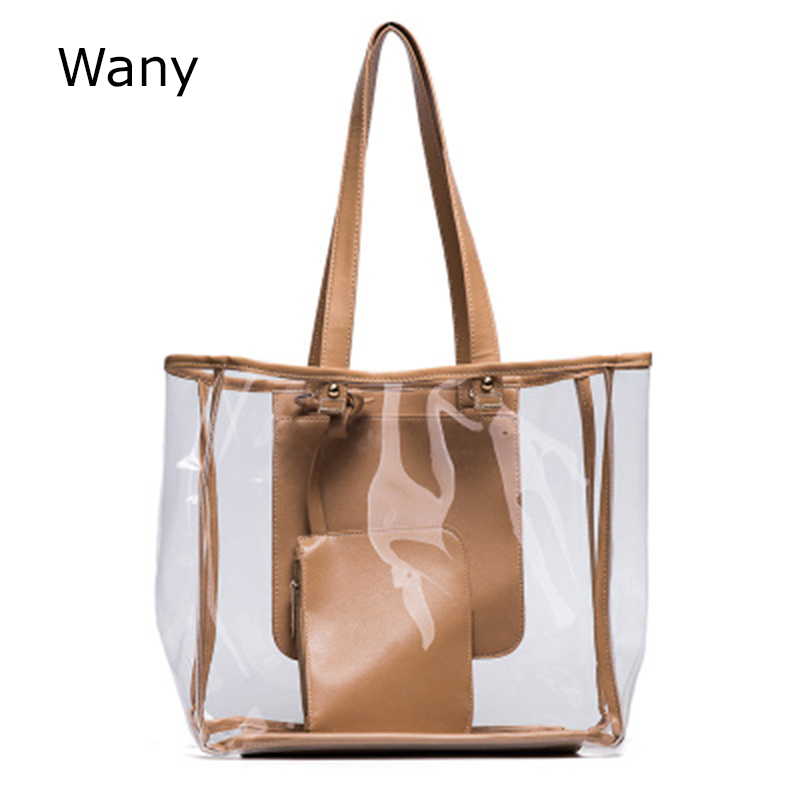 2018 New Women Handbag Transparent jelly bag shopping bag beach Shoulder bag large capacity all-match Composite Bags
