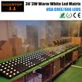 LED MATRIX WHITE 36 6X6 Warm White Led Matrix Light Flat Iron Case LCD Display 4 Cooling Fan Golden CREE 36 Head Background Lamp