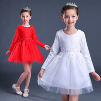 4-12 Years Lovely Girls Long Sleeve Dress Kids Wedding Party Princess Show Gown Flower Dresses Clothes White Red