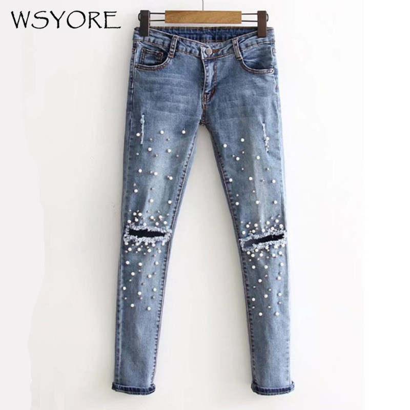 WSYORE Knee Hole Ripped Jeans Woman 2019 New Spring Fashion Women Denim Pencil Pants Slim Fit Rivet Pearl Jeans NS021