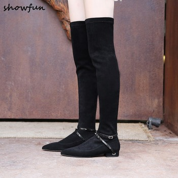 Women's genuine suede leather stretch slip-on autumn over the knee boots black slim long boots leisure comfort ladies high shoes