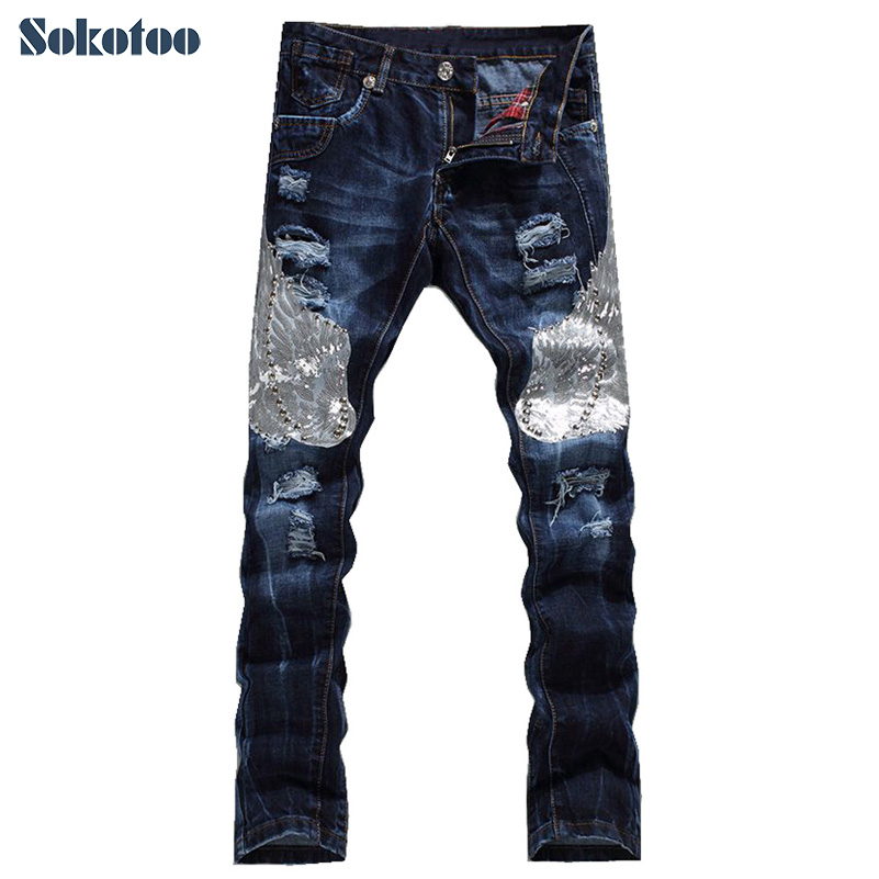 Sokotoo Men's Fashion Eagle Wing Embroidered Denim Pants Male Casual Hole Ripped Jeans Slim Straight Trousers Free Shipping