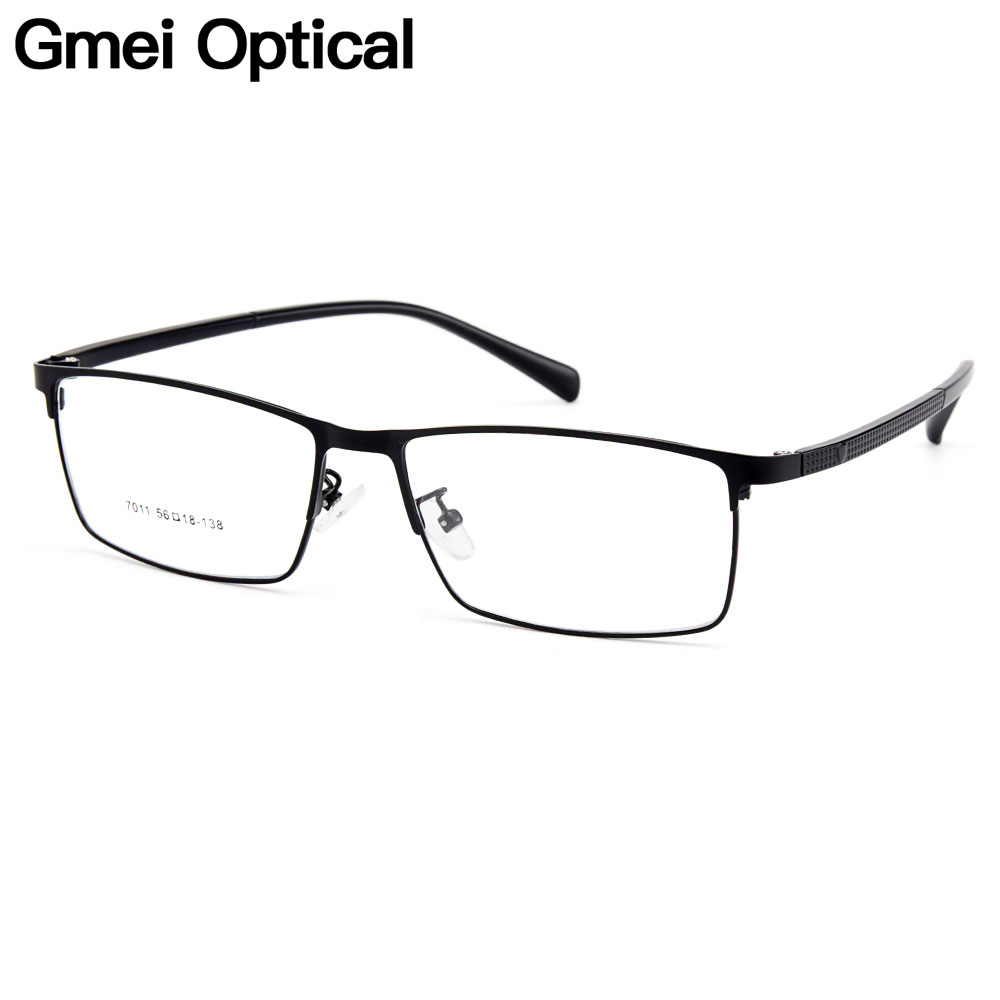 Gmei Optical Men Titanium Alloy Eyeglasses Frames For Men Eyewear Flexible Temples Legs IP Electroplating Alloy Spectacles Y7011