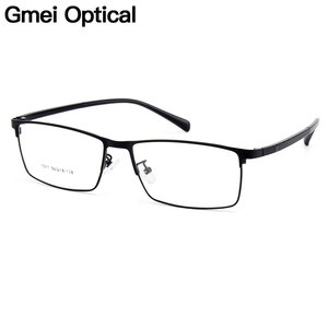 Gmei Optical Men Titanium Alloy Eyeglasses Frames for Men Eyewear Flexible Temples Legs IP Electroplating Alloy Spectacles Y7011(China)