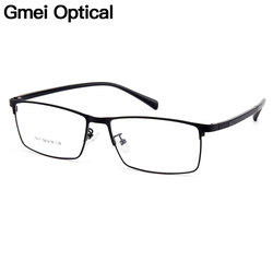 Gmei Optical Men Titanium Alloy Eyeglasses Frames for Men Eyewear Flexible Temples Legs IP Electroplating Alloy Spectacles Y7011