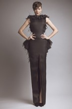 Sheath Arabic Dubai Feather Dress Long Evening Dresses With front Slit Low Back Woman Gowns 2015 Real Picture