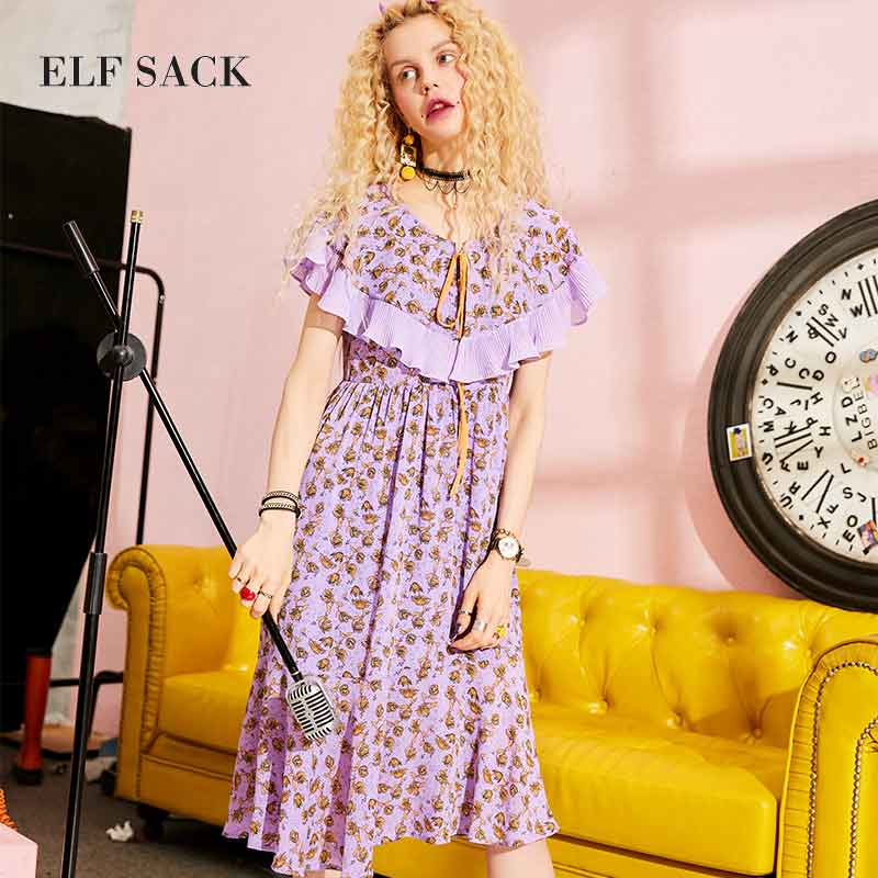 ELF New Fashion Style Cotton Summer Vintage Floral Print Chiffon Woman Dresses Knee Length Ruffled Party
