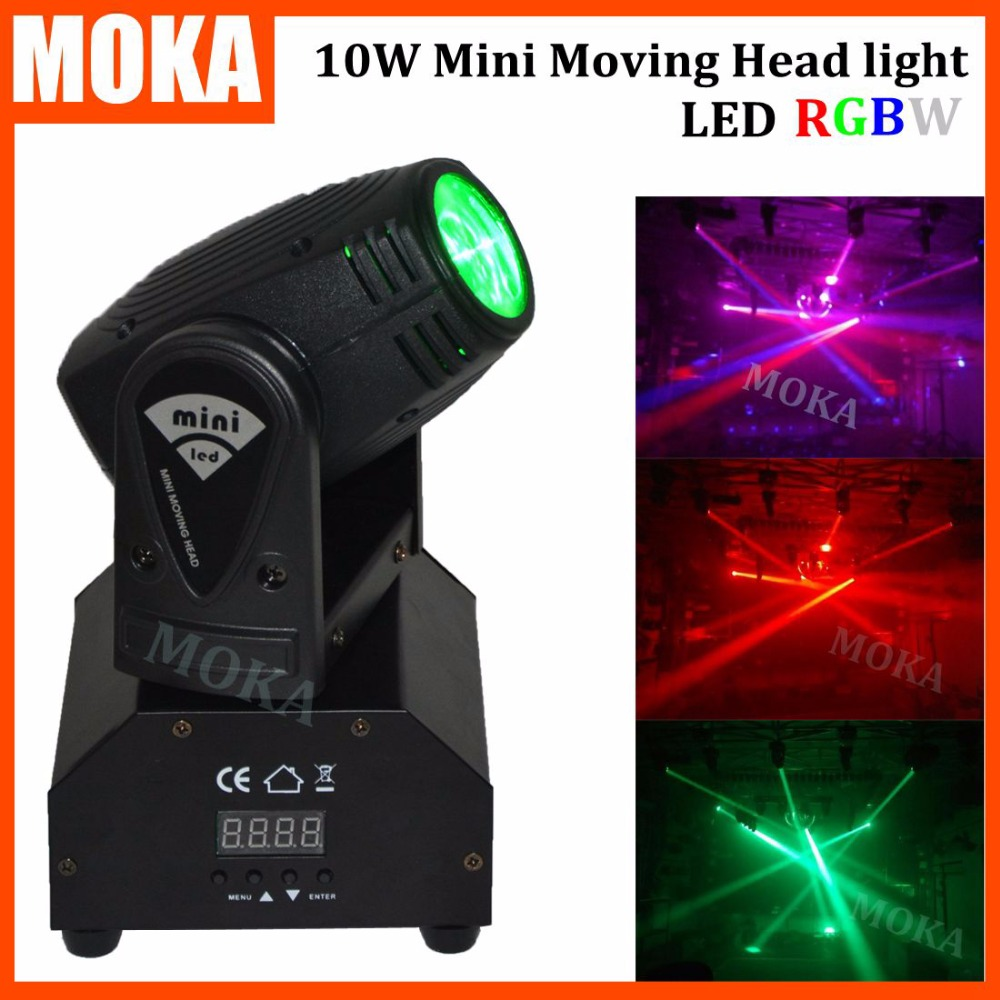 все цены на 1 Pcs/lot 10W mini led moving head light dmx 512 4 IN 1 RGBW Cree led Stage Light Night Club pro disco lights онлайн