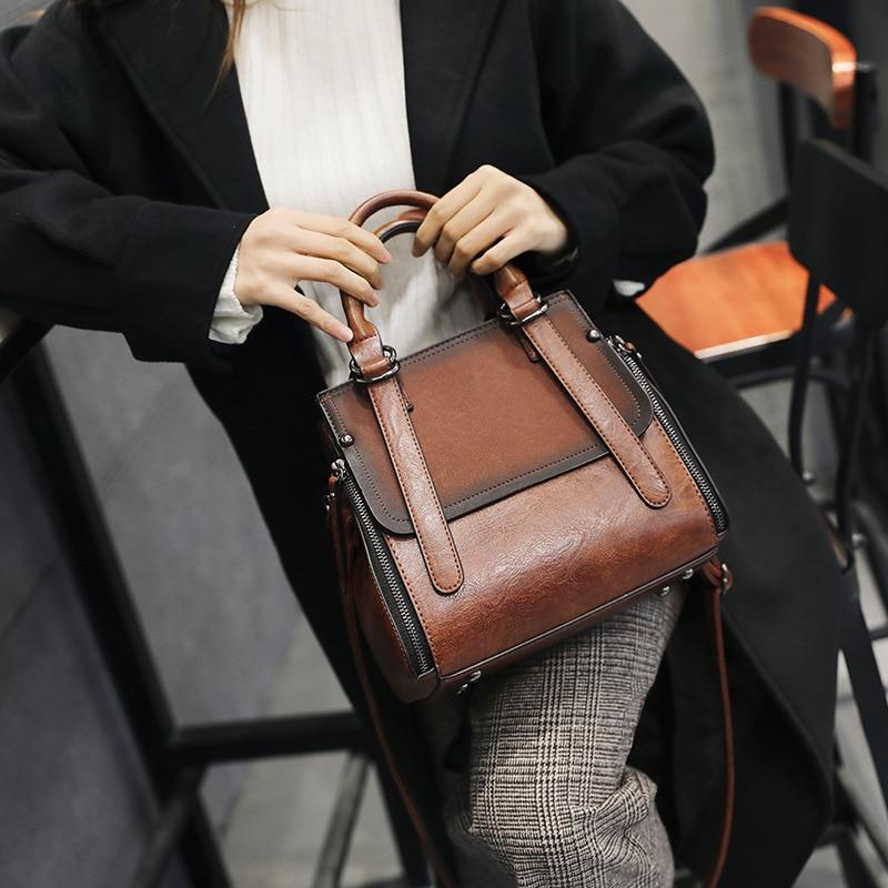 MEETSELF Women PU Leather Handbags Shoulder Bag Casual Tote Bag Female Handbags High Quality Sac Main Ladies Hand Bags QZH 8355 in Top Handle Bags from Luggage Bags