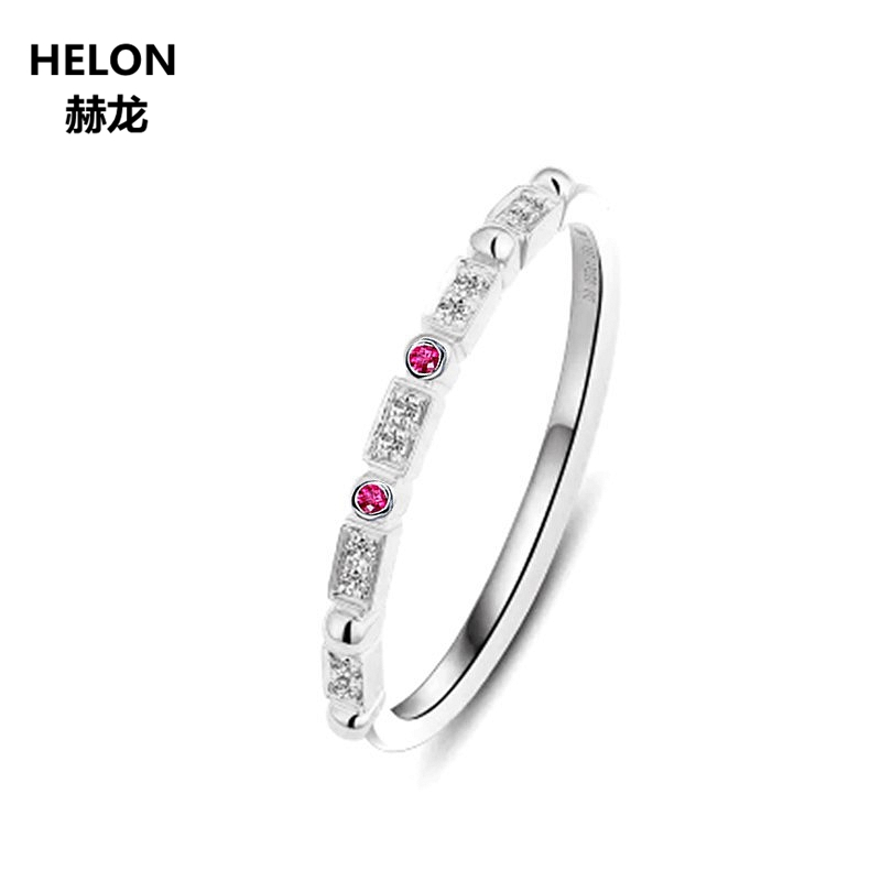 Women Natural Diamonds Engagement Wedding Ring Solid 10k White Gold Party Anniversary Band Fine Jewelry Natural Ruby Gift classic 18k solid white gold party anniversary engagement wedding band rhombus rings for women men couple gift fine jewelry