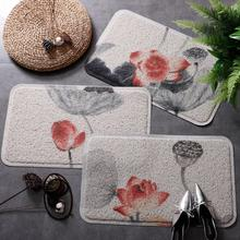 Chinese style Entrance hall carpet PVC wire loop mat INS ink painting lotus Door Living room floor bathroom non-slip rug
