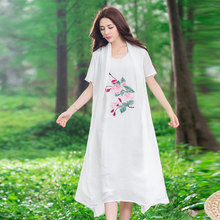 Fashion China Style Women Summer 2017 Casual Flower Embroidery Dress Short Sleeve Loose Fake Two Design New