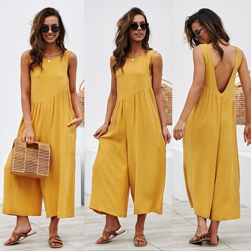 Summer 2019 Off Shoulder Tank Jumpsuit Women Backless Wide Leg Jumpsuits & Rompers Casual Loose Long Bodysuit Beach Overalls