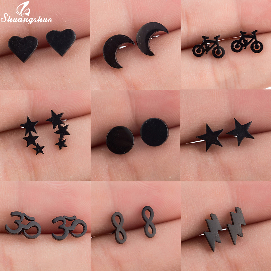 Shuangshuo Trendy Bohemia Punk Earrings Jewelry Mini Black Geometric Moon Star Stainless Steel Stud Earrings Women Girls Kids