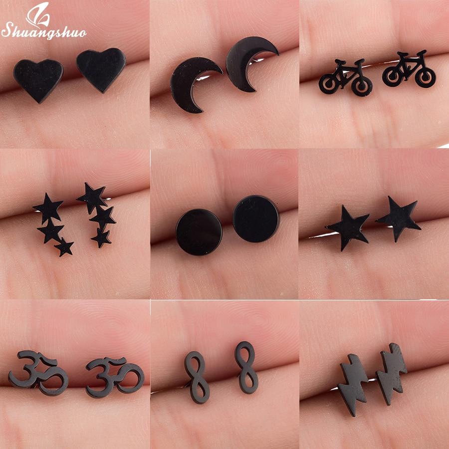 Shuangshuo Trendy Bohemia Punk Earrings Jewelry Mini Black Geometric Moon Star Stainless Steel Stud Earrings Women Girls Kids