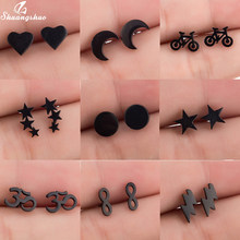 Shuangshuo Trendy Bohemia Punk Earrings Jewelry Mini Black Geometric Moon Star Stainless Steel Stud Earrings Women Girls Kids(China)