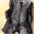 Más el Tamaño S-XXXL Faux Fox Chaleco de Piel Corto Chaleco de Cuero de las Señoras de Las Mujeres abrigo de Invierno 2017 Nuevo Diseño