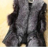 Plus Size S XXXL Faux Fox Fur Vest Short Leather Vest Women's Ladies Winter coat 2017 New Design