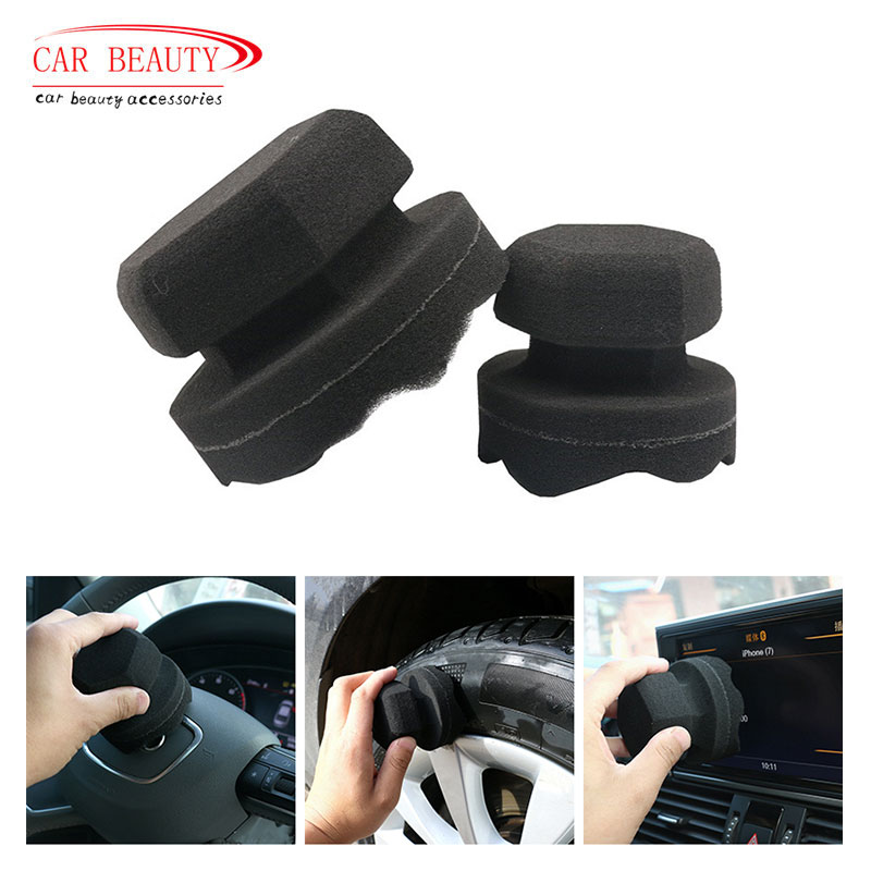 8/11CM Detailing Car Wash Black Tire Cleaning Tools Car Cleaning Tire Waxing Sponge Car Detailing Brush