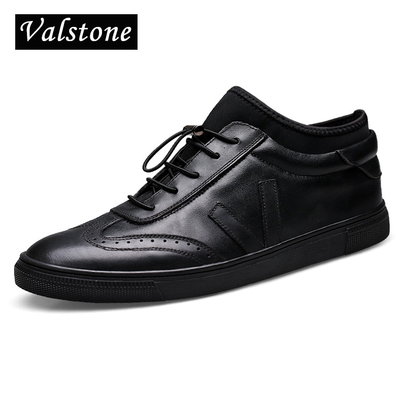 Valstone Luxury Men s Genuine Leather shoes Ankle board shoes slip on flats with strainer lace