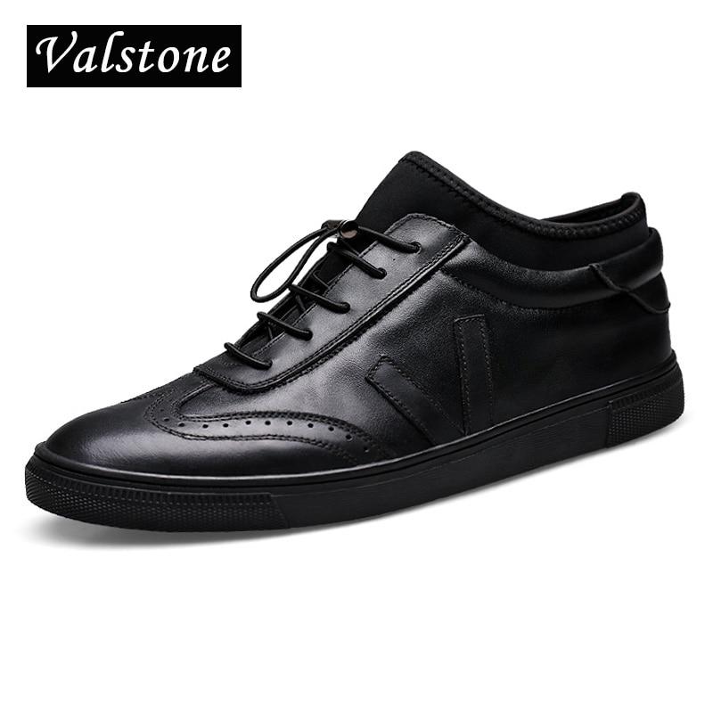 Valstone 럭셔리 남성 정품 가죽 신발 발목 보드 신발 슬립 스트레이너 레이스 업 조각 진짜 가죽 스 니 커 즈-에서남성용 캐주얼 신발부터 신발 의  그룹 1