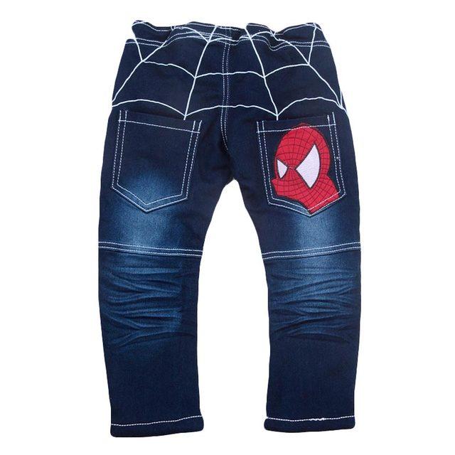 Primavera/Otoño Vaqueros Muchachos de Los Niños Del Niño Del Bebé Suave de Algodón A Cuadros de Dibujos Animados de Mezclilla de Impresión Pantalones Largos Pantalones de Vestir Niños