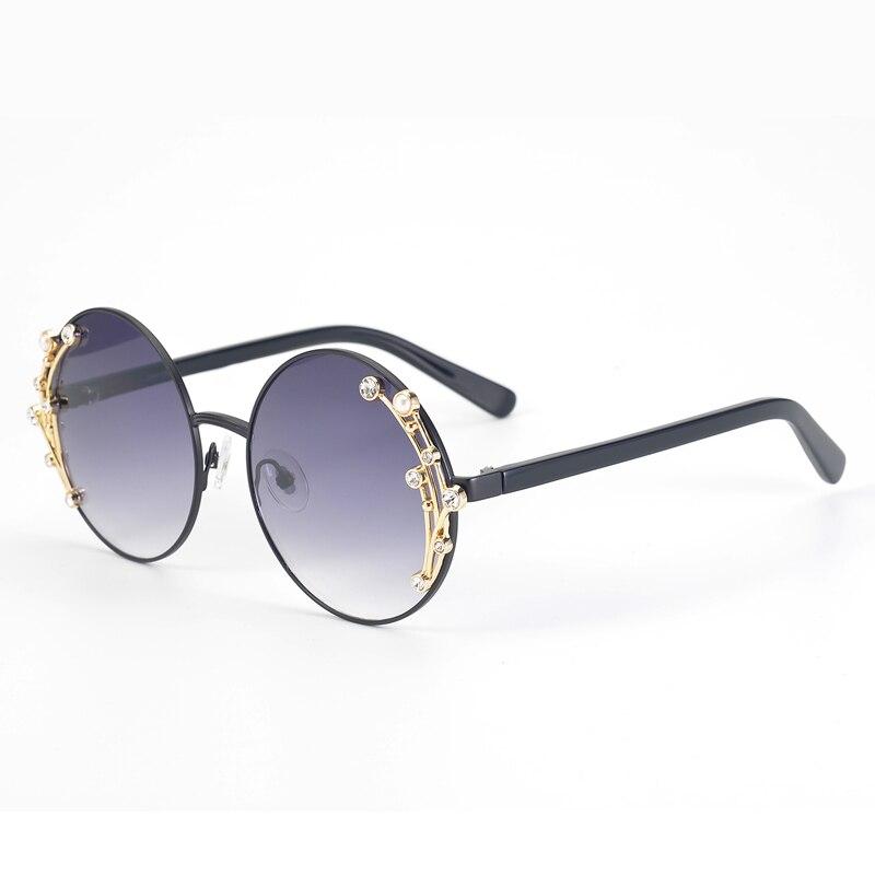 High Quality Women Round Sunglasses with Pearl 2019 Fashion Luxury Brand Designer Polarized Sunglasses UV400 Oculos