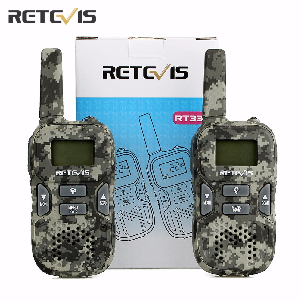 Support USB Charging A Pair Mini Walkie Talkie Retevis RT33 0.5W PMR 446MHz Portable Kids Radio LCD Display Fashlight Children
