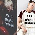 2015 Verano Estilo Miley Cyrus Hannah Montana RIP de Impresión Negro Blanco y Mujeres de la Manga de Raglán Camiseta Del Swag Ropa Camiseta Fresca