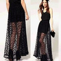 Fashion Women High Waist Polka Dot Sexy Mesh Double Layer Sheer Black Long Skirt