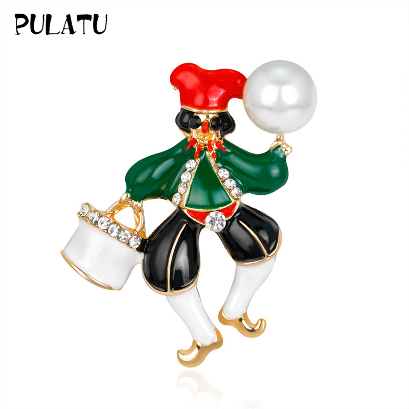 PULATU Cute Clown Brooches for Women Collar Badge Sweater Suit Metal Simulate Pearl Brooch Pins Accessories Christmas Jewelry