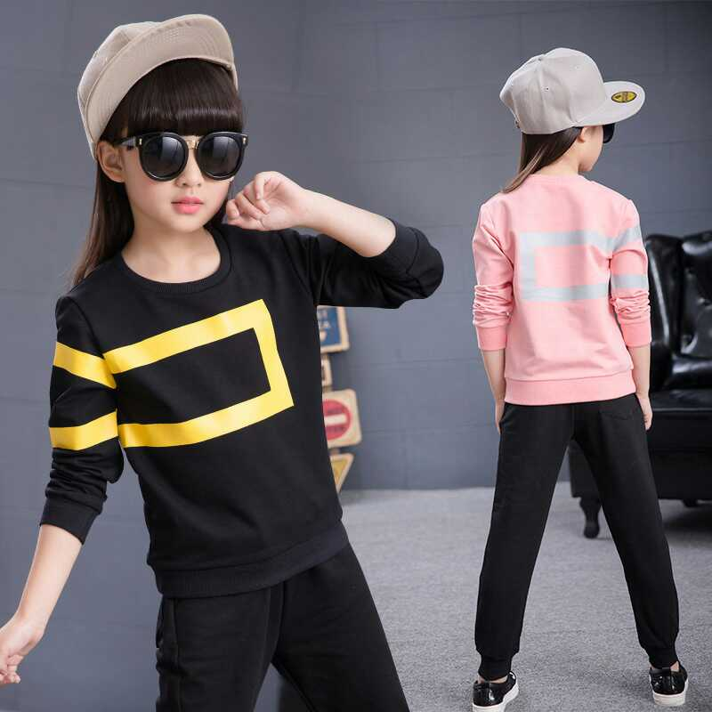 Teenage Girls Clothing Sets Girls Sport Suits Children Clothing Sets 2017 Brand New Kids Clothes Sets Sweatshirts + Pants 13 14 2016 fashion spring autumn girls suits brand designer flower children set sweatshirts coats jeans t girls 3 sets