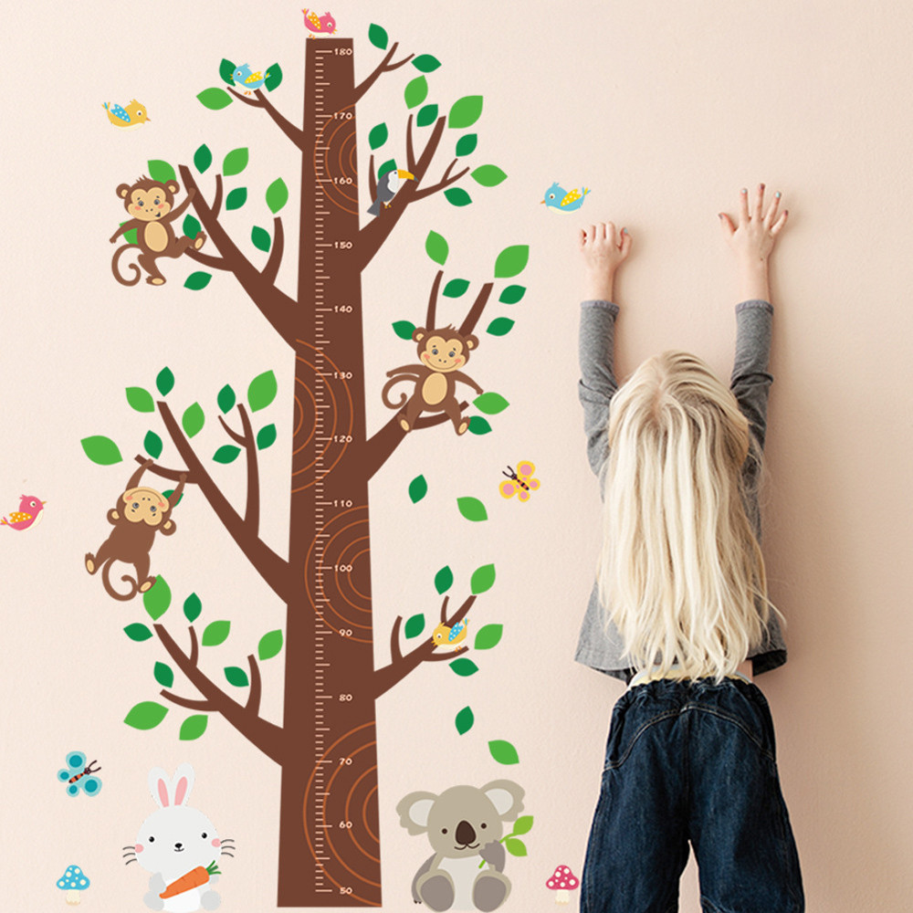 4 Cute Monkeys Wall Decals Sticker Nursery Decor Mural: Jungle Monkey Tree Kids Baby Nursery Wall Sticker 2018 NEW